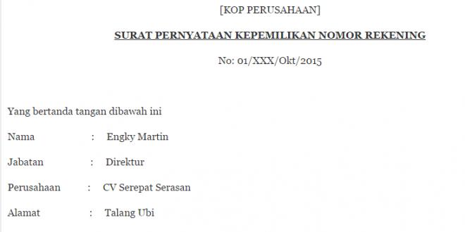 Contoh Surat Pernyataan Rekening Bank Quadrant Co Id