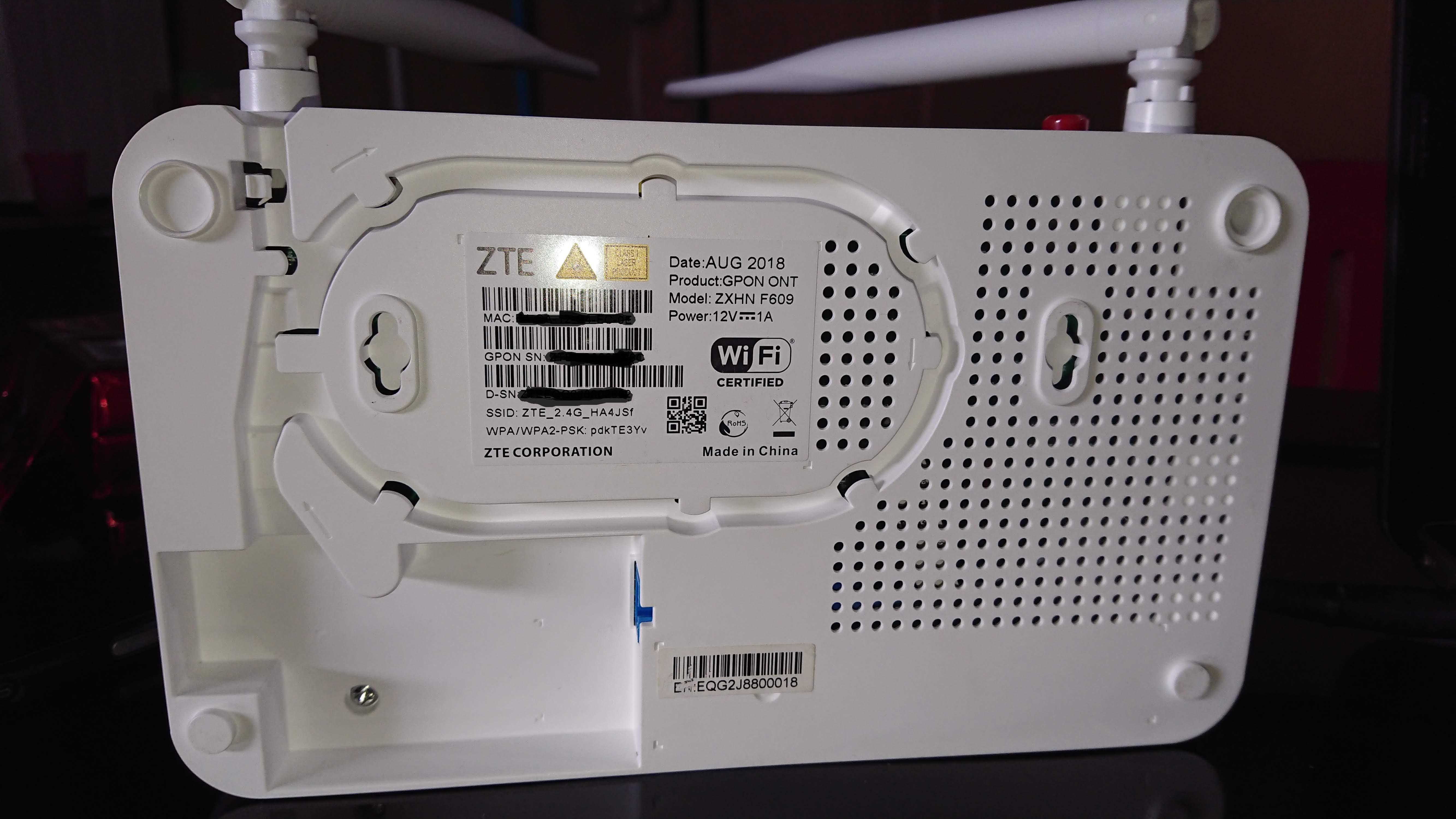 Defaul Password Modem ZTE ZXHN F609 Indihome